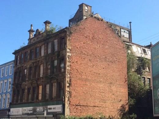 Gorbals building Glasgow brick facade ruin