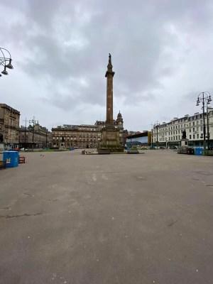 empty George Square Glasgow due to Coronavirus pandemic