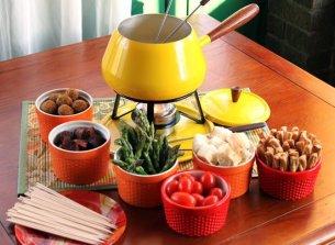 fondue cheese vegetables
