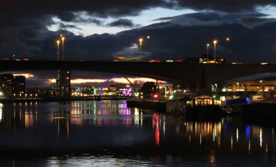 Kingston Bridge at Dusk. Glasgow