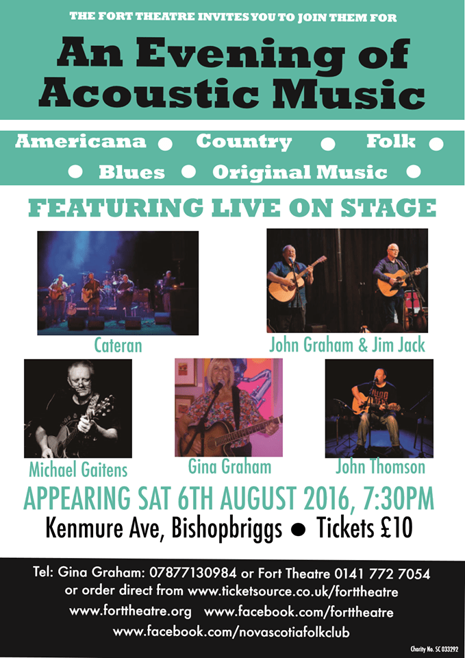 an evening of acoustic music the fort theatre bishopbriggs 6 august