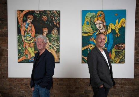 Bruce Finney, gallery owner,, with the artist Adrian Wisniewski