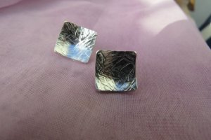 silver square errings