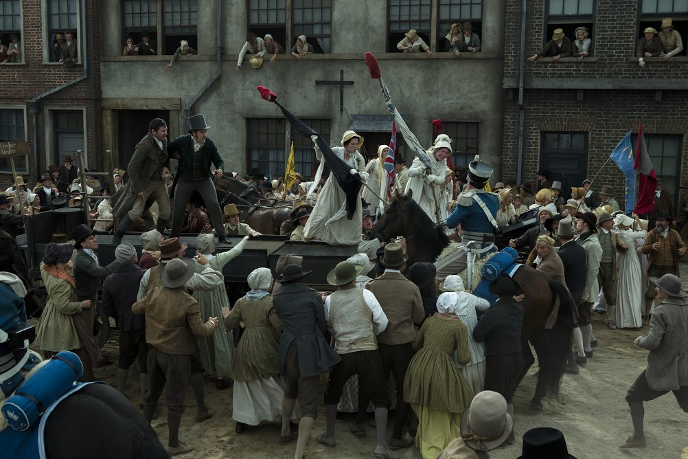 PETERLOO featuring John-Paul Hurley as John Thacker Saxton, Joseph Kloska as Richard Carlile, Victoria Moseley as Susanna Saxton, and Dorothy Duffy as Mary Fildes courtesy of Amazon Studios.