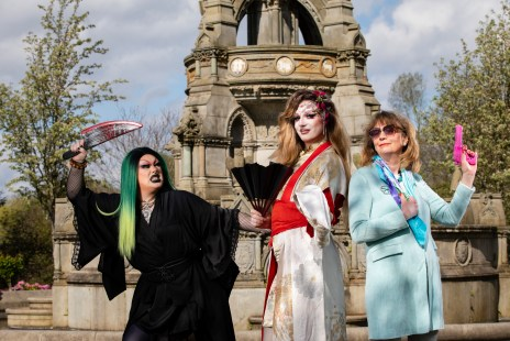 """Pictured Drag Queens Frans Gender (left) with Kiko (centre) role playing the """"Drag in the Dark-Killer Queens """" event, at the fountain in Kelvingrove Park, in Glasgow's west end with WEF Chairman, Liz Scobie. Embargoed until 6.30pm on Friday 26th of April 2019. Photograph by Martin Shields Tel 07572 457000 www.martinshields.com © Martin Shields"""