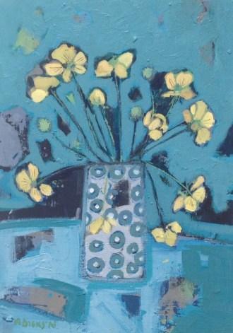 vase yellow flowers