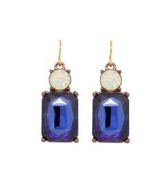 opal blue square earrings