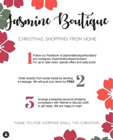 chistmas shopping from home at Jasmine.