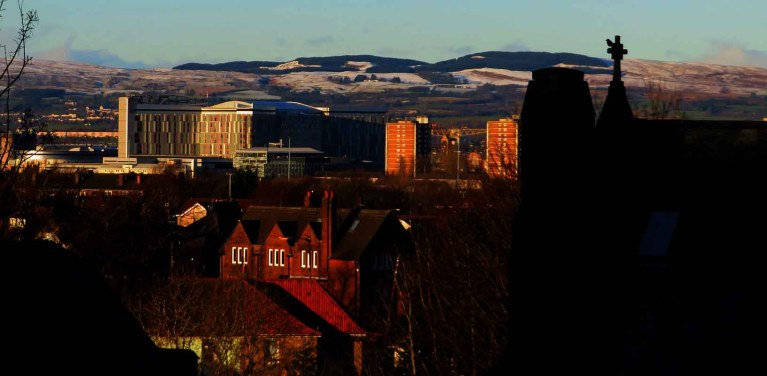 Afternoon Sunlight on QE Hospital at Govan.Bellahouston Viewpoint
