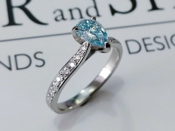 ice blue pear ring