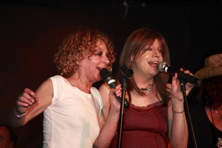 Rosie and Diana in full flow at the Elephant Shelf Album Launch