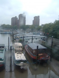 House Boats from Battersea Bridge in the rain