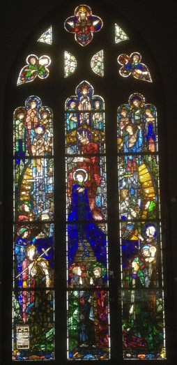 "Harry Clarke's stained glass ""The Coronation of the Blessed Virgin"", at Glasgow's Kelvingrove Museum, Scotland."