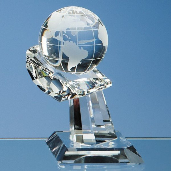 6cm Optical Crystal Globe on Mounted Hand Award
