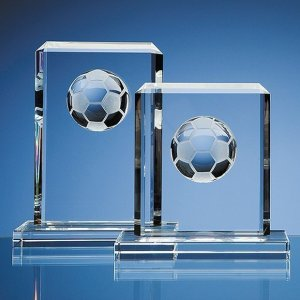 15cm Optical Crystal Football Rectangle Award