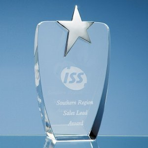 19.5cm Optical Crystal Oval Award with Silver Star