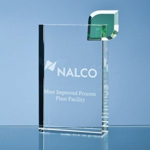 17cm Optical Crystal 'Eco Excellence' Award with a Single Green Leaf