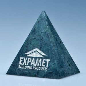 10cm Green Marble 4 Sided Pyramid Award*