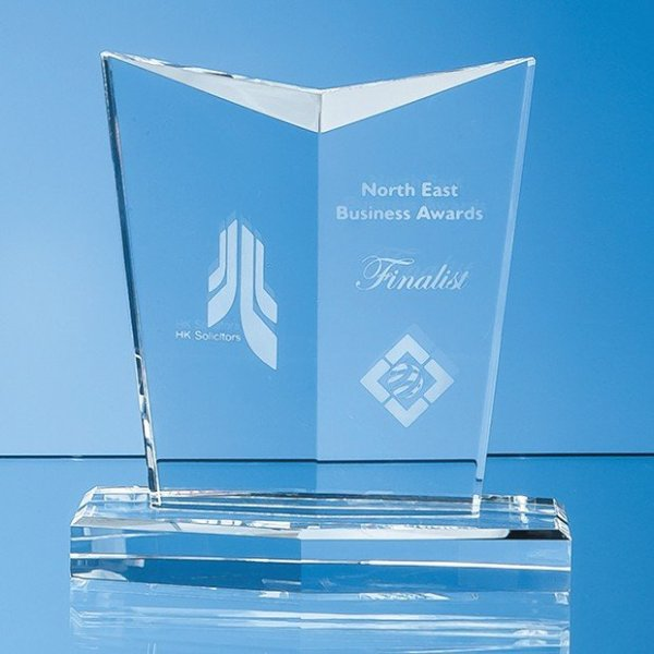 13cm Optical Crystal Facetted Shield Award