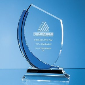 20cm Optical Crystal Slope Award with Sapphire Blue Curve