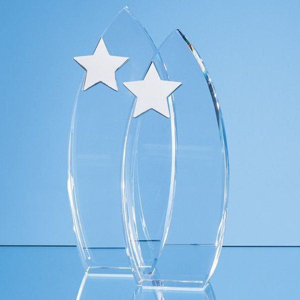 23cm Optical Crystal Arch Award with Silver Star