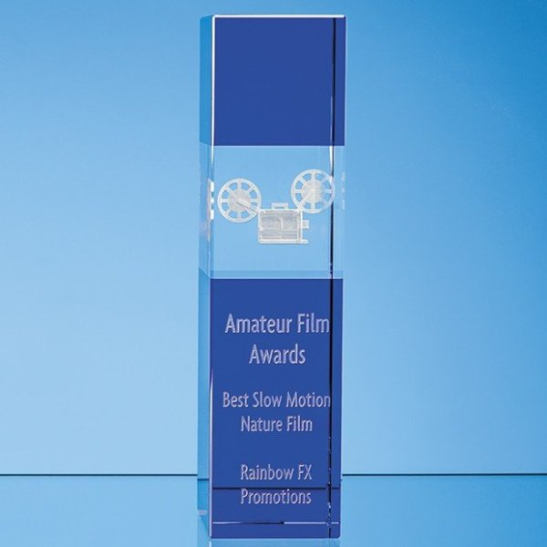 24cm Clear & Cobalt Blue Optical Crystal Square Column Award