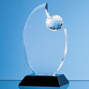 17.5cm Optical Crystal Globe Award Mounted on an Onyx Black Base