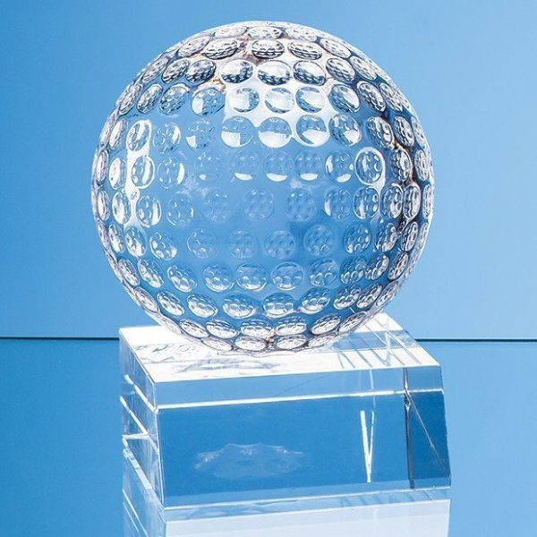 4.5cm Optical Crystal Golf Ball Mounted on a Clear Crystal Base