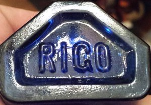 """ROGO"" mark on cobalt bottle (photo courtesy Eric Foster)"