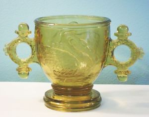 Swan with Double-Ring Handles Mustard or Sugar Bowl