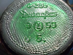 Duraglas and Owens-Illinois mark on base of 1959 soda bottle