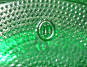 """Second mark used - """"I inside of an O"""" mark on base of emerald green jar"""