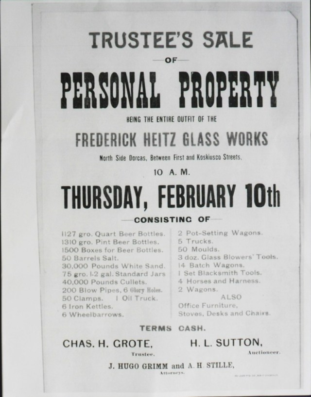 Circular advertising auction of the Frederick Heitz Glass Works property, dated February 10, 1898. It is unclear how long a period of time ensued between the shut-down of the glass works, and the auction sale. The quantity of finished bottles on hand is remarkable: 162,288 quarts, and 188,640 pint beer bottles. (Kind permission to copy this circular was granted courtesy of the owner of original, the Missouri History Museum, St. Louis, MO.)