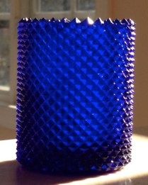 "Cobalt Blue ""Diamond Point"" type candle cup, marked on base: ""PATENT NO. /FAROY / U.S.A. / 204,556"". Picture courtesy of Jan Wooten)"