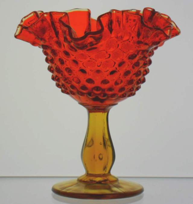 """Hobnail candy dish in Amberina glass (""""Fenton inside an oval """"mark is on the base)"""