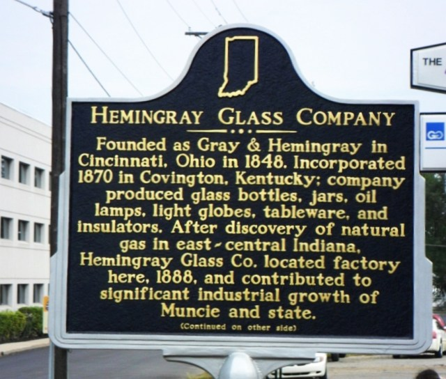 Hemingray Glass Company plaque (dedicated September 4, 2011) on the front lawn area of the old Hemingray plant grounds, Macedonia Avenue, Muncie, Indiana