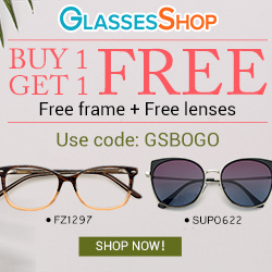 Buy One Get One FREE on All Frames and Lenses at GlassesShop.com with code GSBOGO Offer Expires - 08/10