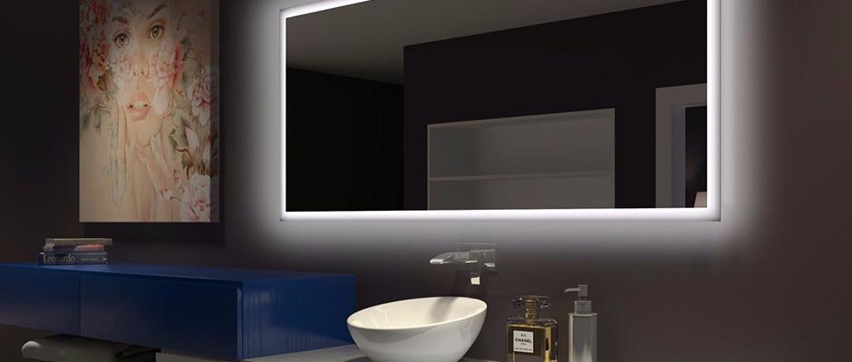 Miroir Retroeclaire De Salle De Bain Avec Lumiere Del Vitrerie Des Experts