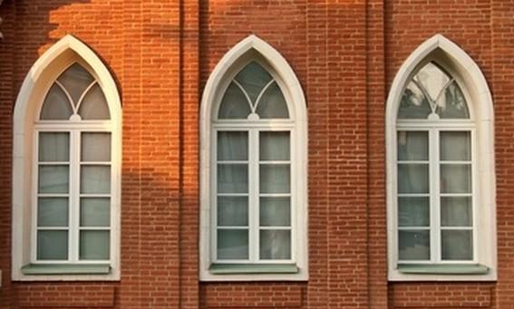 fenêtre ogive bois alu pvc avec double vitrage