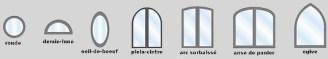 fenêtres cintrées pvc, ronde, oculus, demie-lune, anse de panier, arc surbaissé, ogive, plein cintre
