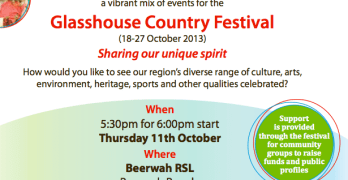 Glasshouse Country Festival Information Night on Thurday the 11th October
