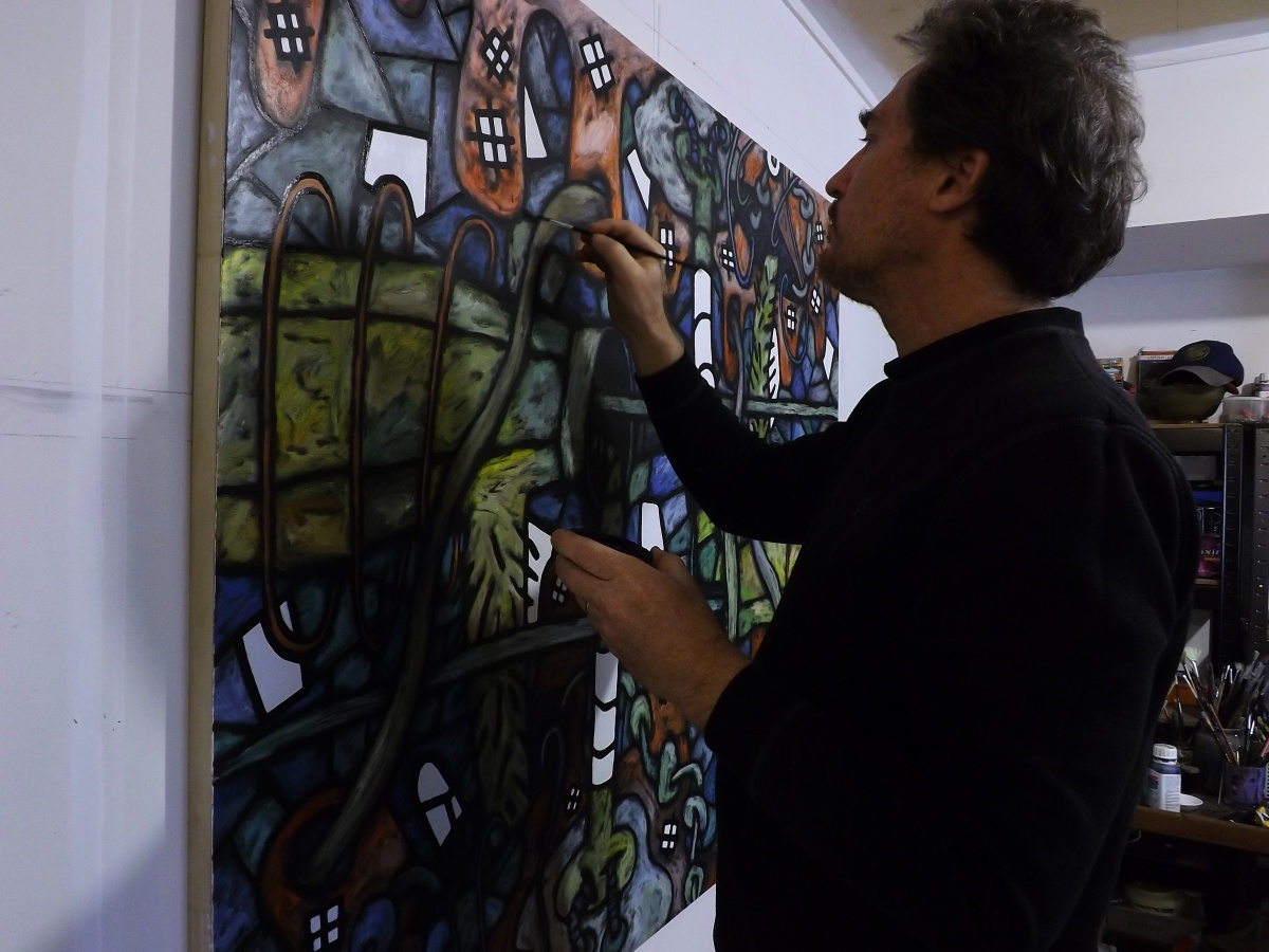 David Howard at work in his Art Studio in Beerwah