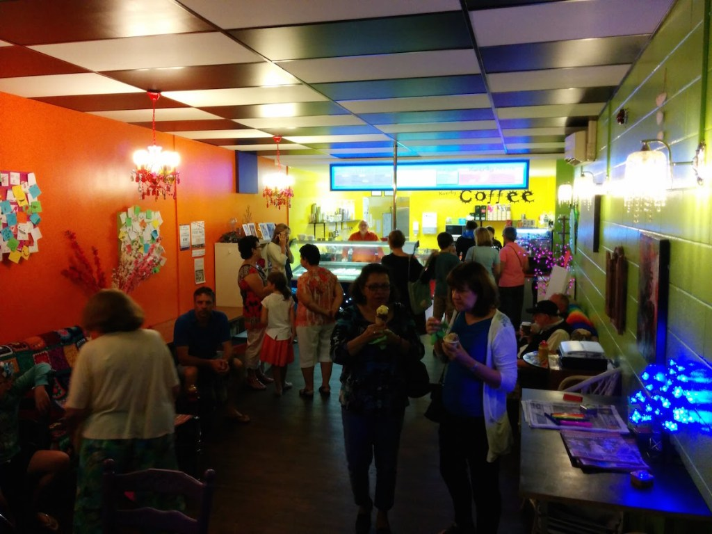 The Crowd at Kwerky Cafe at the Beerwah Street Party 2015