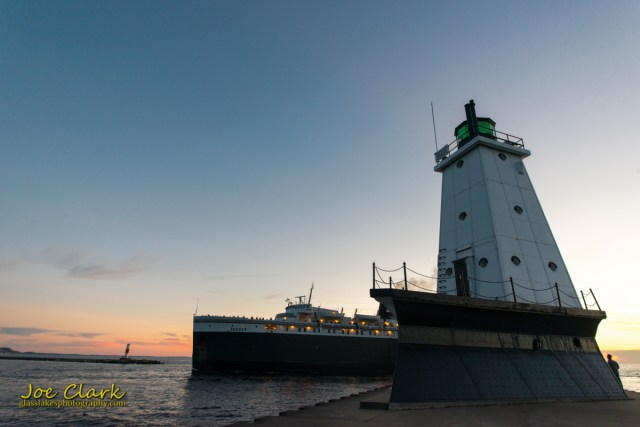 S.S. Badger returns to Ludington for the last sail of 2014.