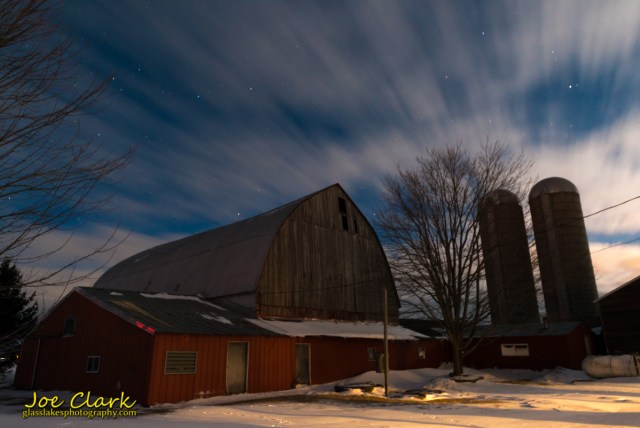 Huron county farm in moonlight