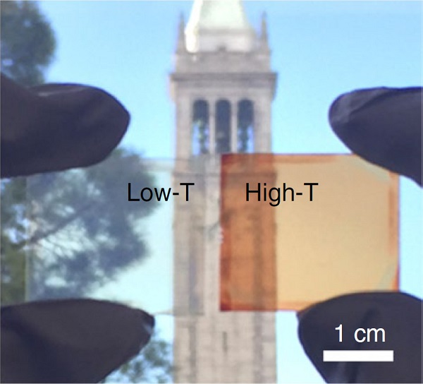 UC Berkeley's campanile seen through the low-temperature thin-film halide perovskite, which is transparent, and the heated perovskite, which is orange-red and converts sunlight into electricity.