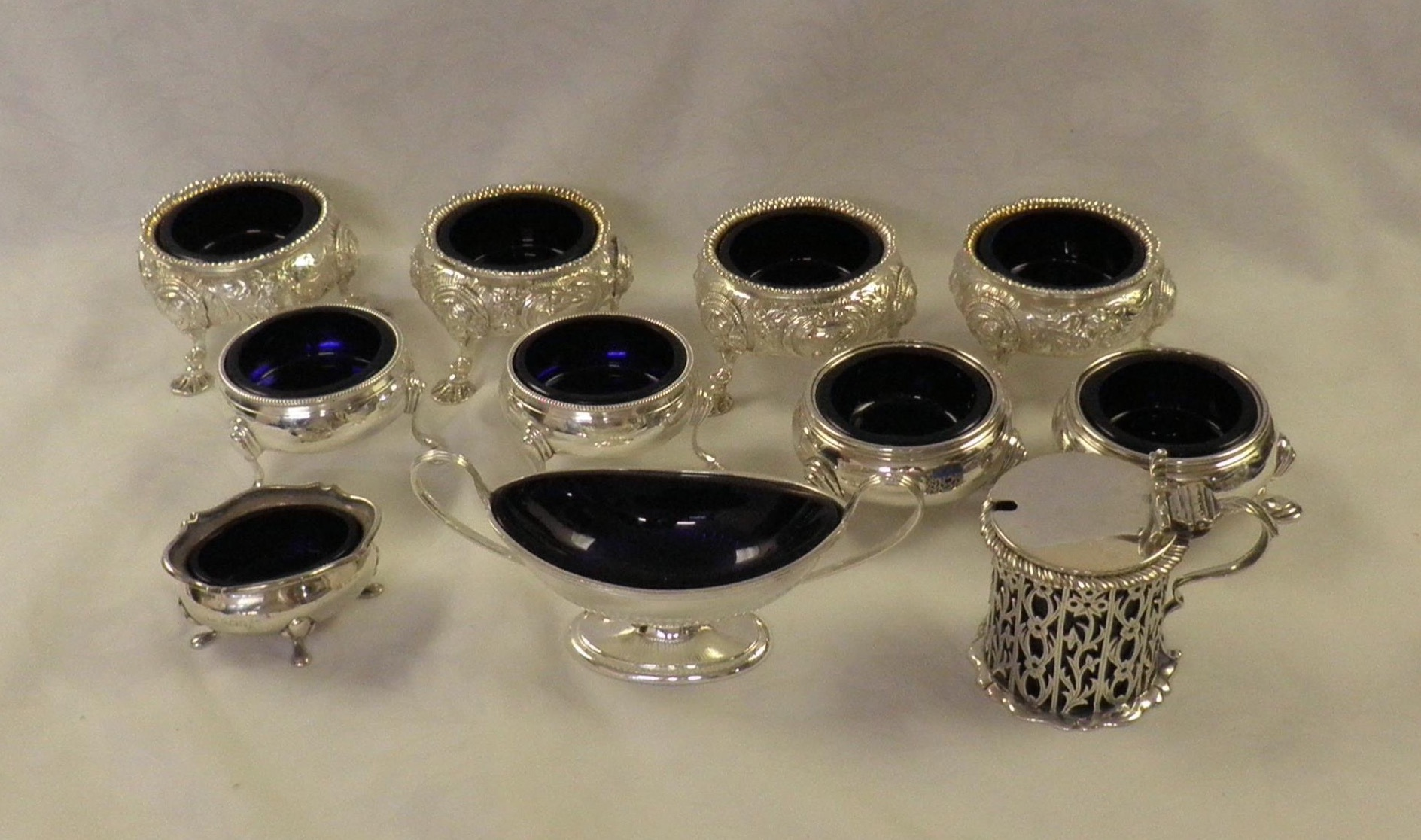 Blue glass liners for silver salt & mustard pots