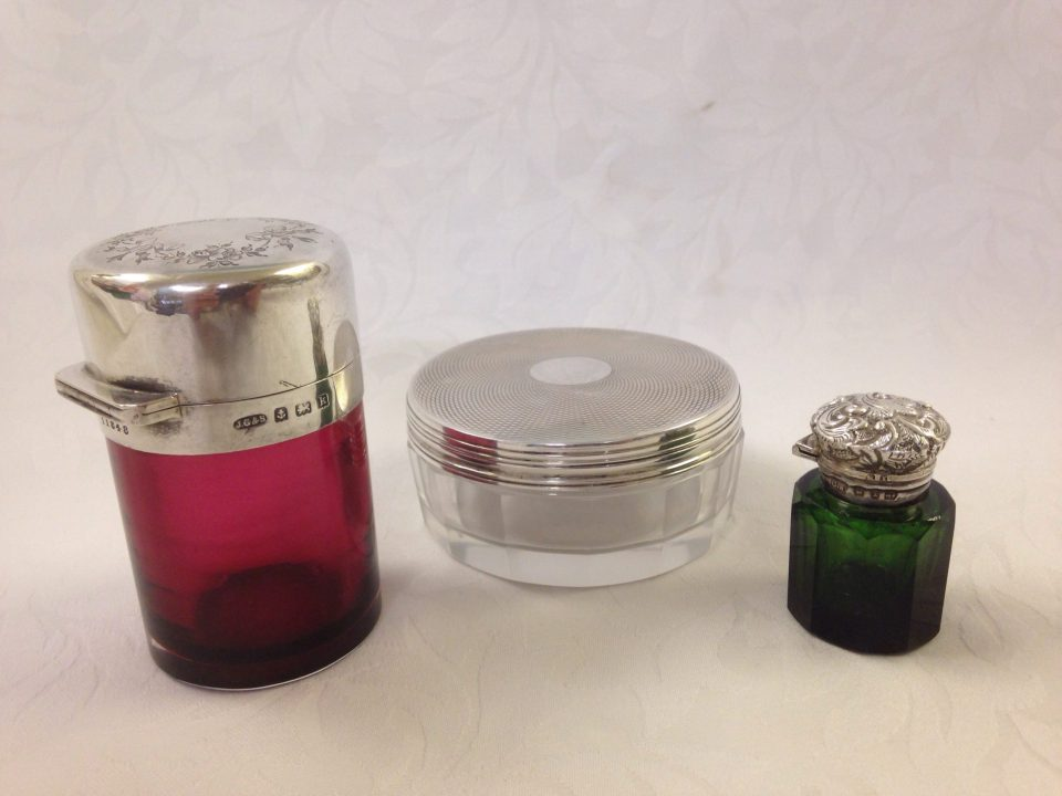 Perfume bottles and jars supplied and repaired, stoppers supplied and fitted