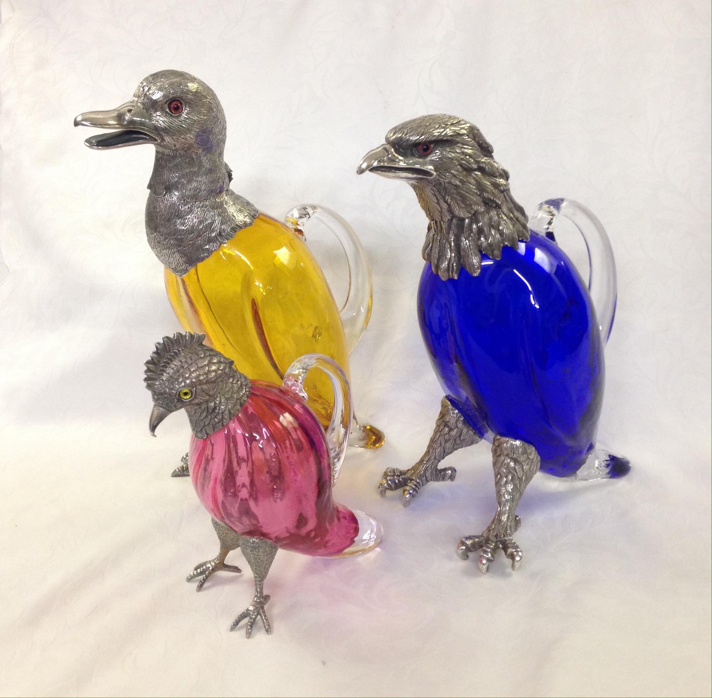 Silver duck decanter silver parrot decanter silver bird decanter with coloured glass