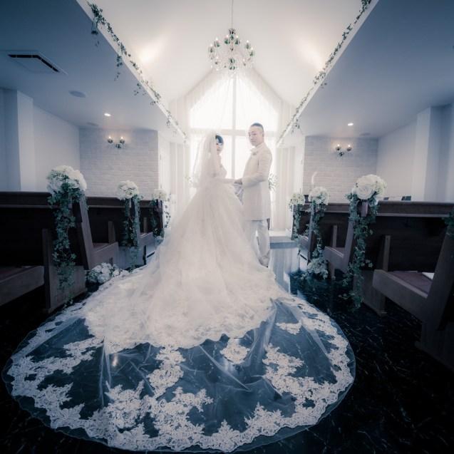長いドレーンが特徴のドレスと振り向く新郎新婦